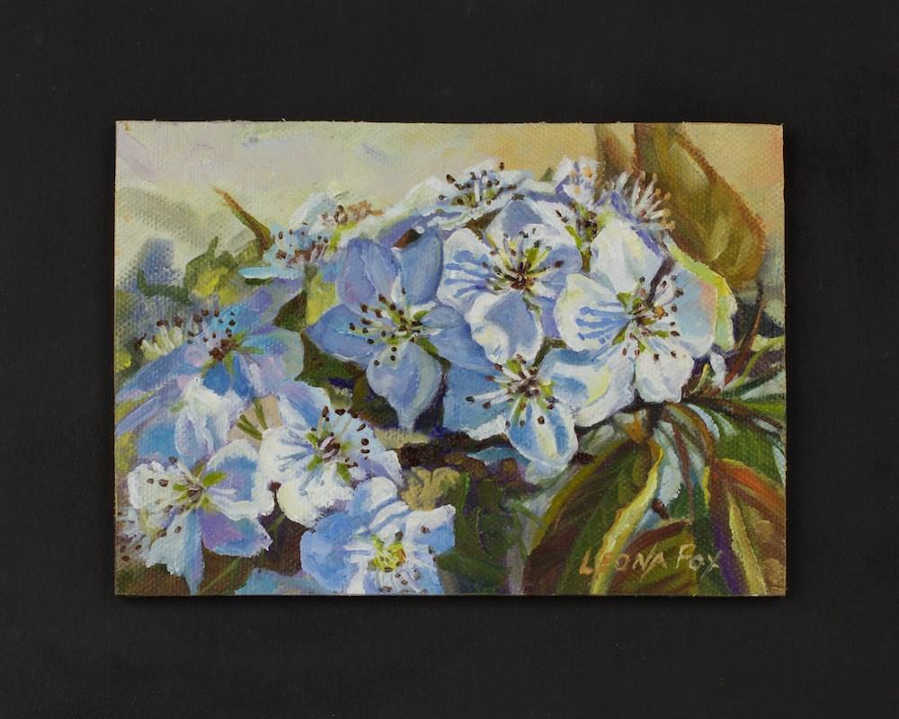 """Flowering Pear"" original fine art by Leona Fox"