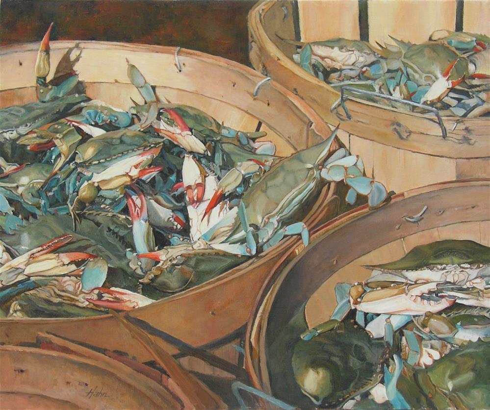 """Bushels of Crabs"" original fine art by Elaine Hahn"