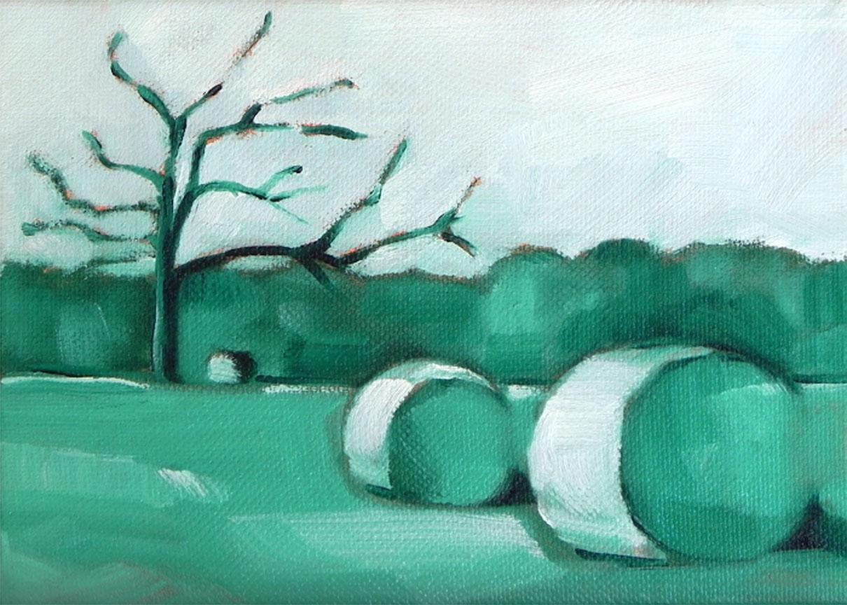 """Hay Bales"" original fine art by Cheryl Wilson"