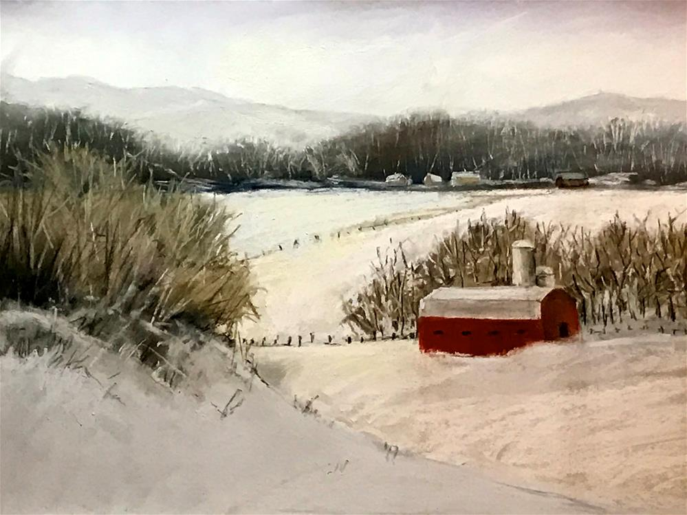 """winter on the farm"" original fine art by Betty Argiros"