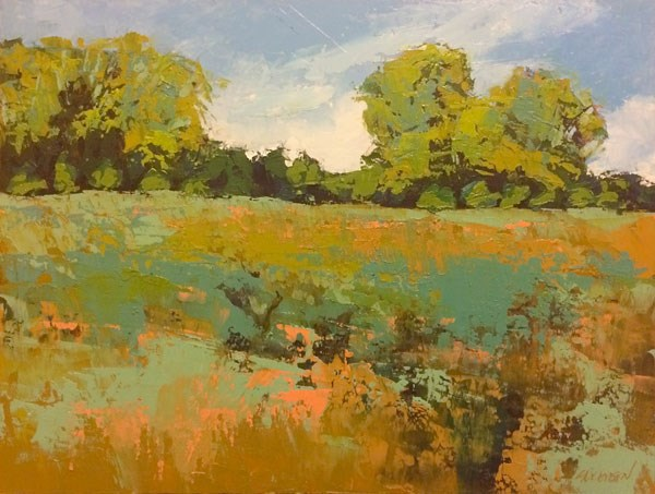 """""""Late Summer Hay Fields"""" original fine art by Mary Gilkerson"""