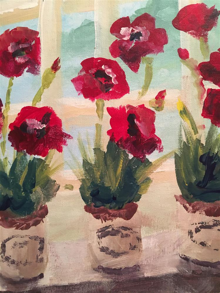 """Poppies in the Window"" original fine art by Susan Elizabeth Jones"
