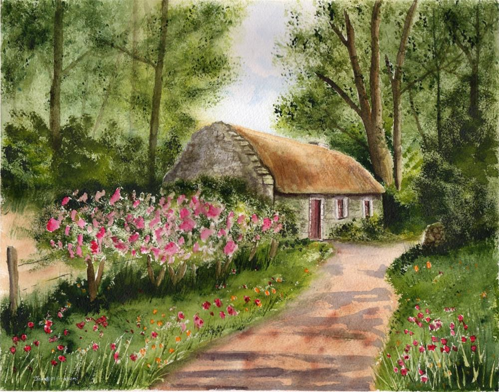 """Thatched Cottage"" original fine art by Janet Graham"