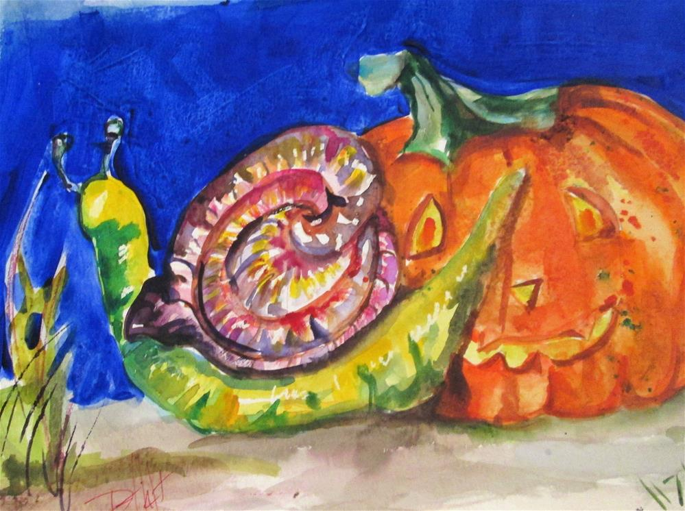 """Snail and Pumpkin"" original fine art by Delilah Smith"