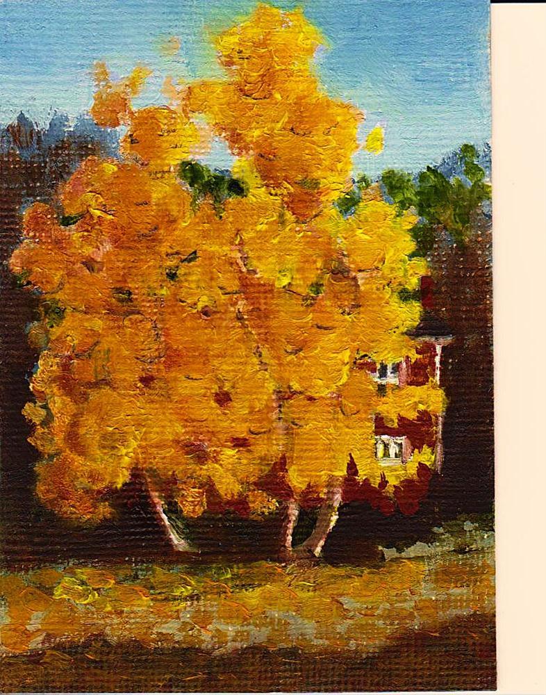 """""""Golden Birches"""" original fine art by William W. Hoyt"""