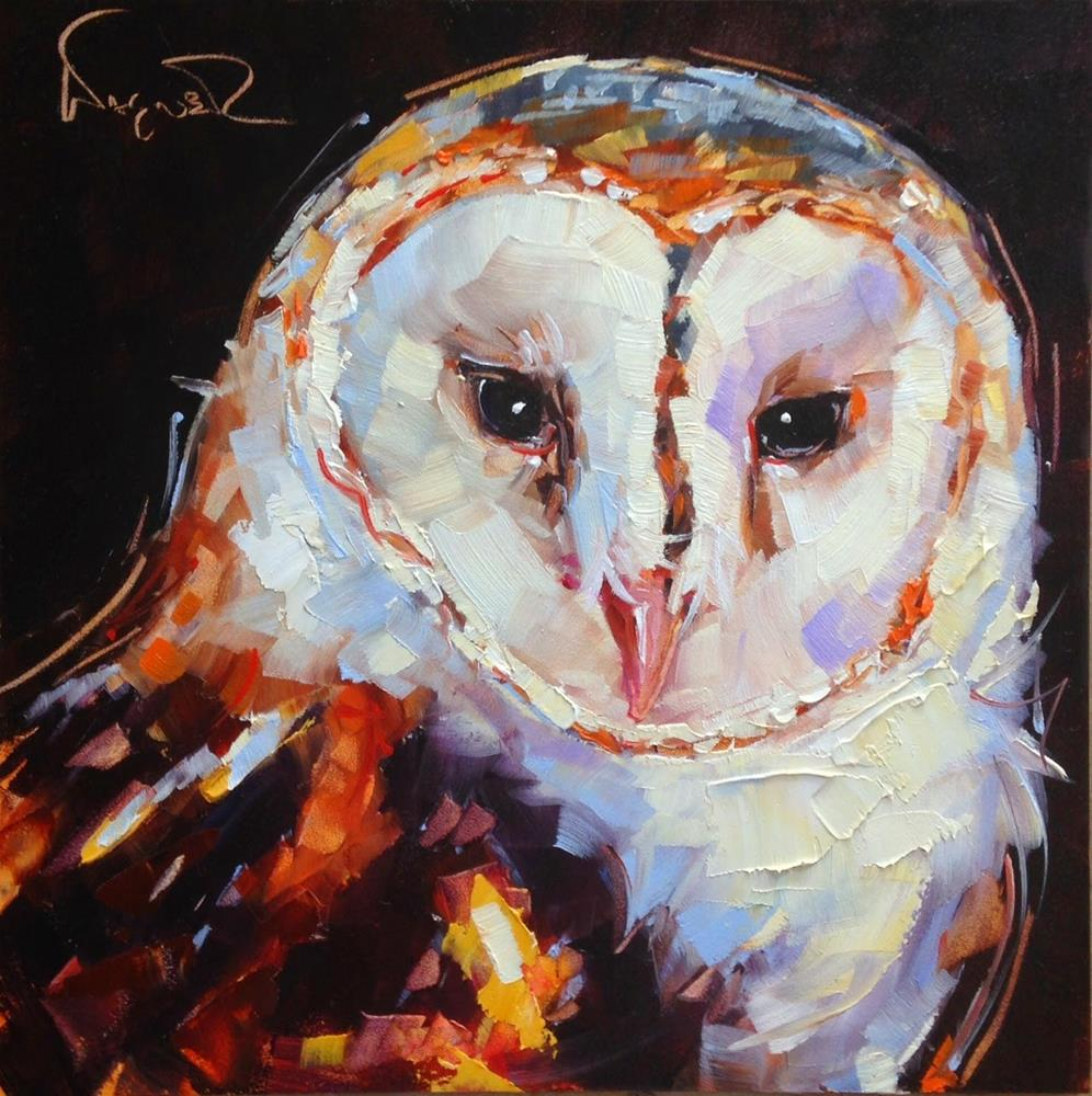 """ORIGINAL CONTEMPORARY BARN OWL PAINTING by OLGA WAGNER"" original fine art by Olga Wagner"