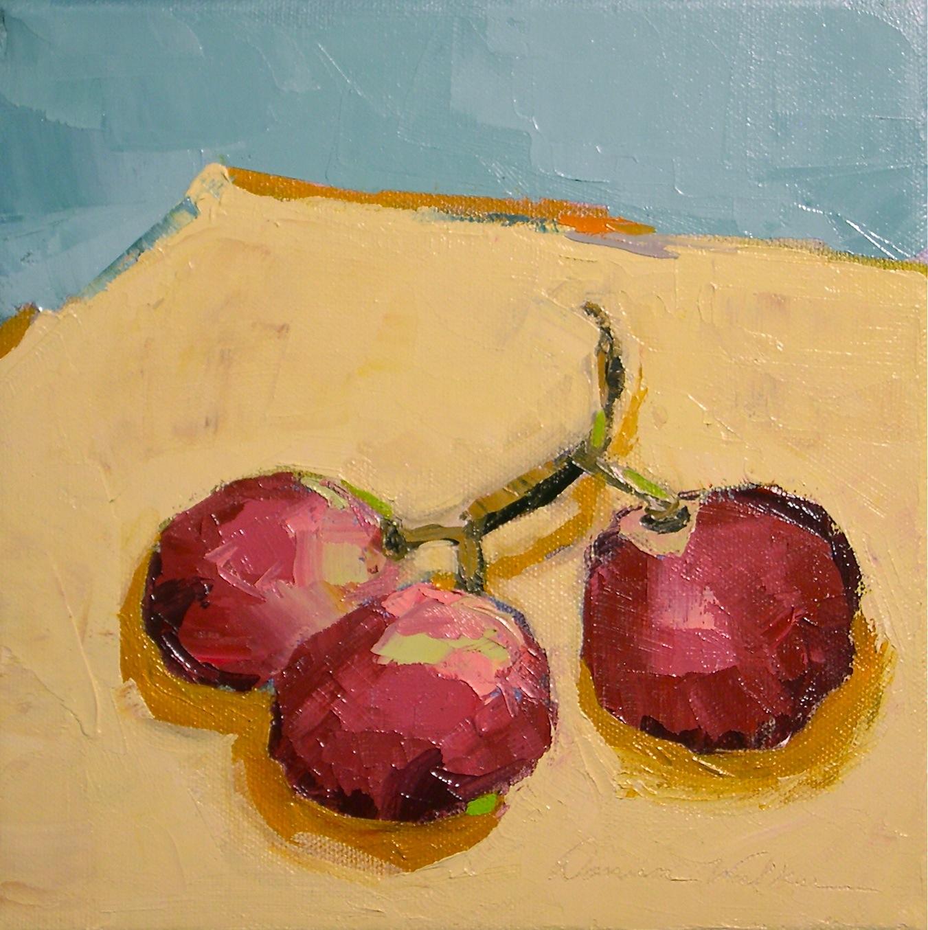 """Red Grape Trio"" original fine art by Donna Walker"