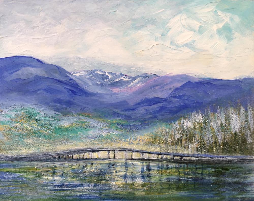"""6076 - Mountains and Bridge"" original fine art by Sea Dean"