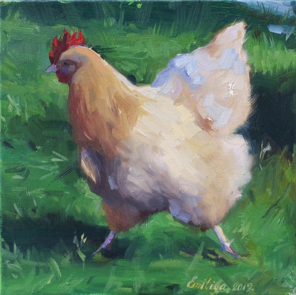 """'IN A HURRY oil on canvas 12x12"" original fine art by Emiliya Lane"