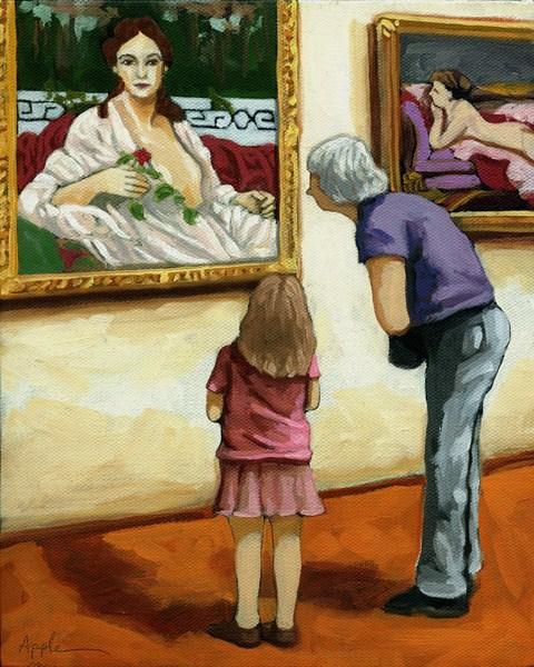 """Sharing - Art Museum Moments"" original fine art by Linda Apple"