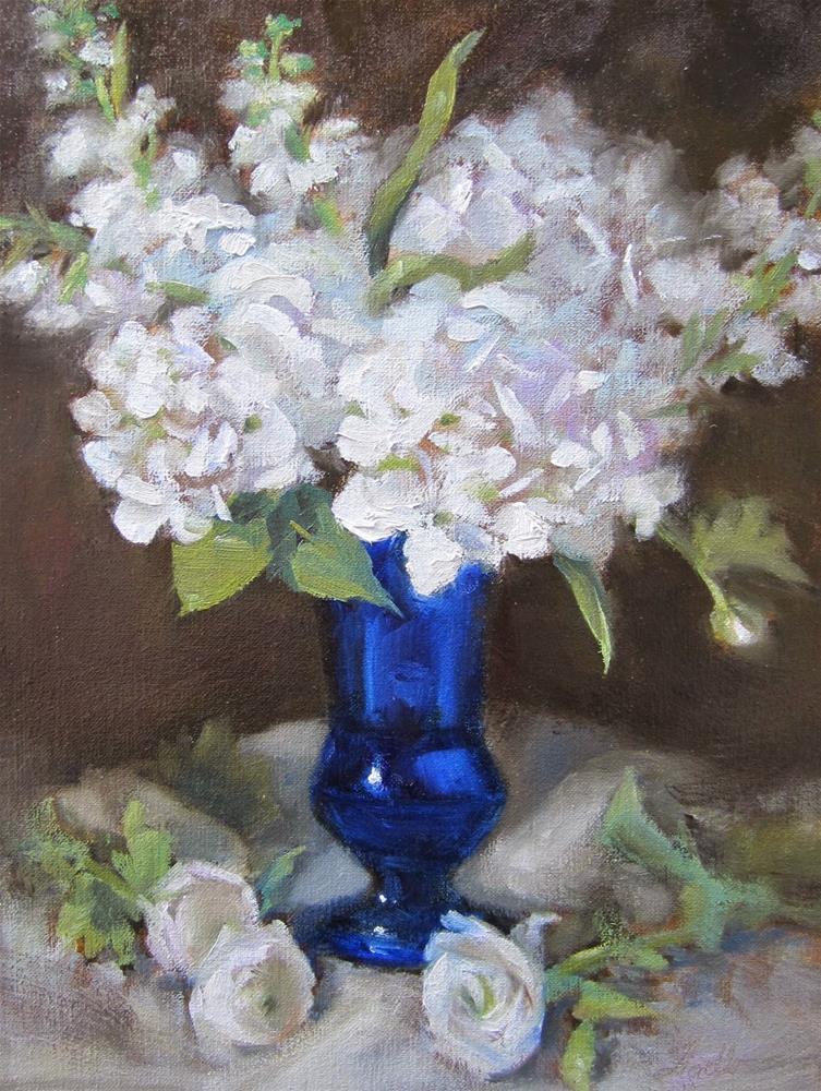 """""""Hydrangea & Stock II"""" original fine art by Pat Fiorello"""