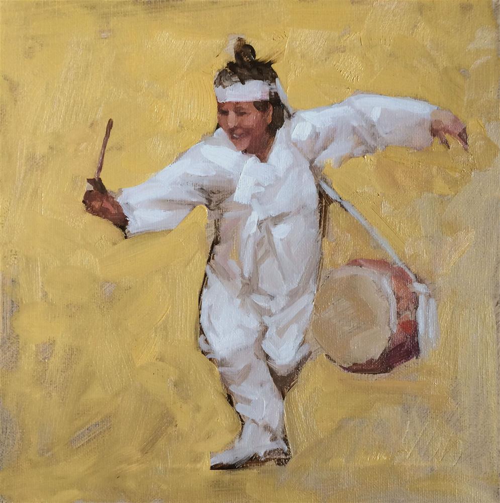 """Korean dance"" original fine art by Yuehua He"