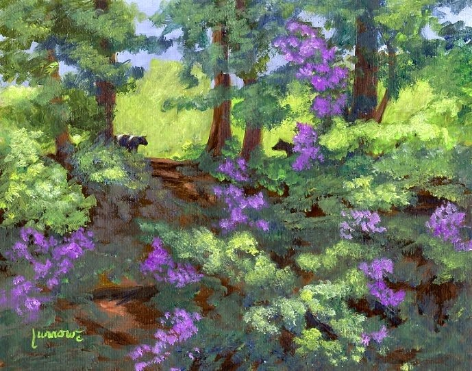 """""""ORIGINAL PAINTING LANDSCAPE RIVER EDGE WITH COWS AND REDBUDS"""" original fine art by Sue Furrow"""