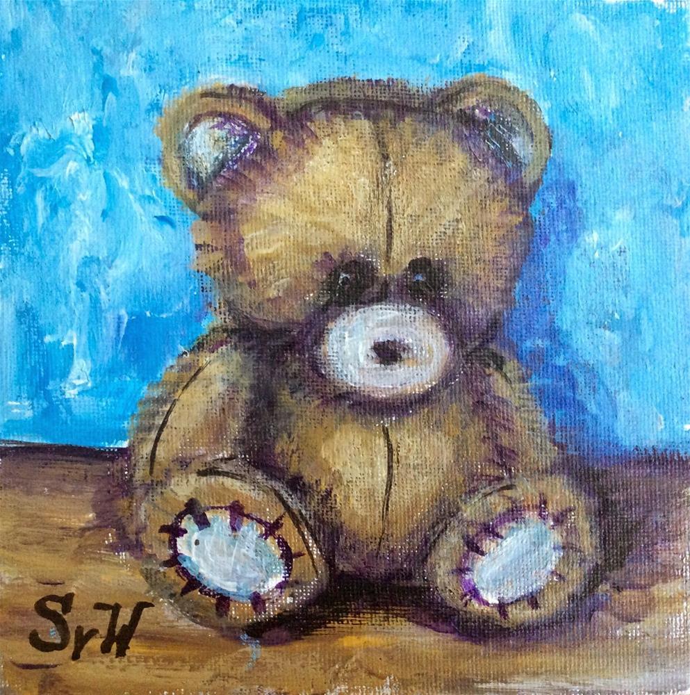 """""""Teddy bear painting"""" original fine art by Sonia von Walter"""