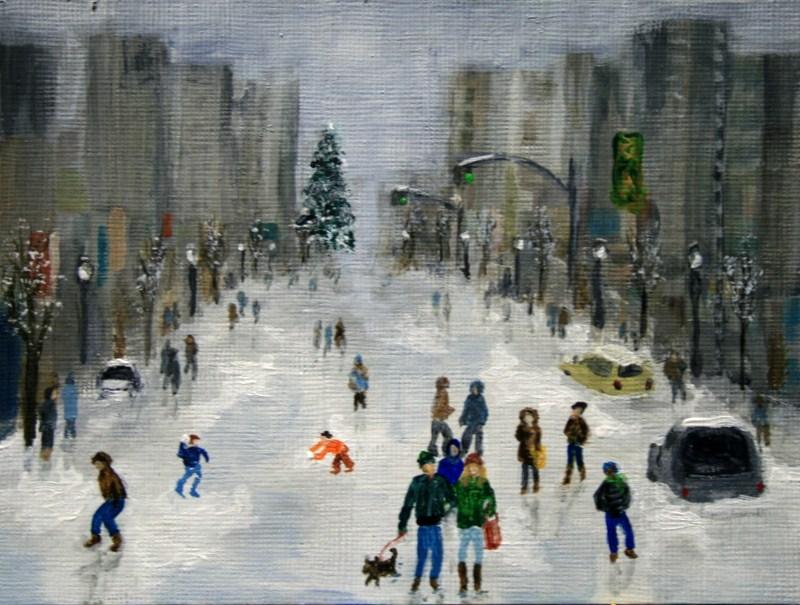 """Winter in the City"" original fine art by Jean Nelson"