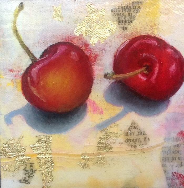 """""""Tout de suite Chérie! - Two Sweet Cherriest"""" original fine art by Anne Ducrot"""