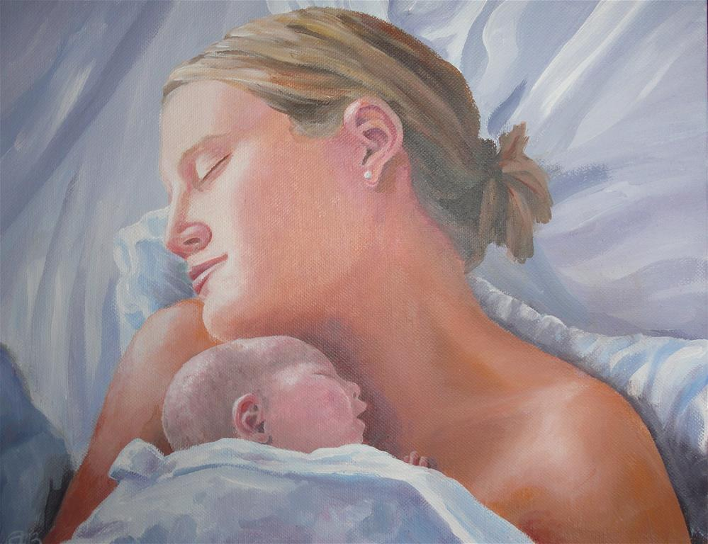 """""""Mother and Baby"""" original fine art by Christine Blain"""