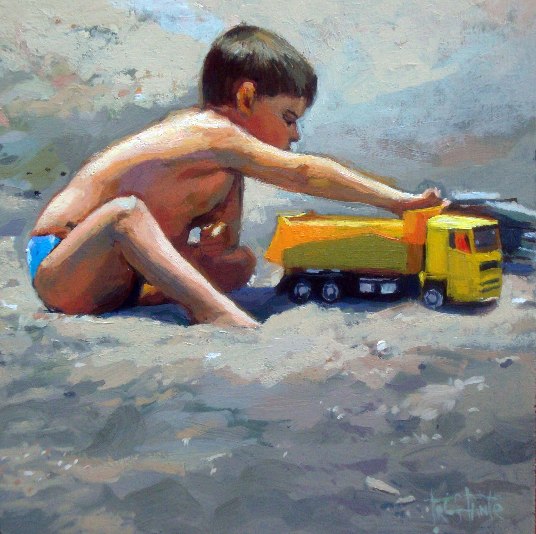 """Playing to be trucker"" original fine art by Víctor Tristante"