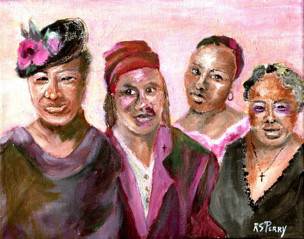 """Four Friends "" original fine art by R. S. Perry"