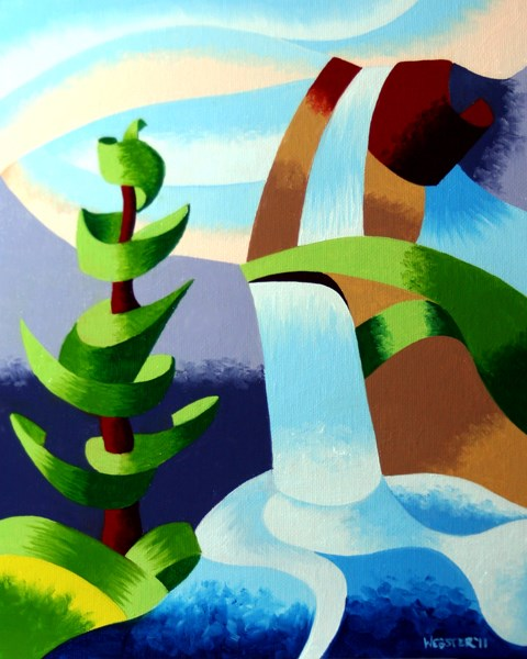 """""""Mark Adam Webster - Abstract Waterfall with Pine Tree Landscape Oil Painting"""" original fine art by Mark Webster"""