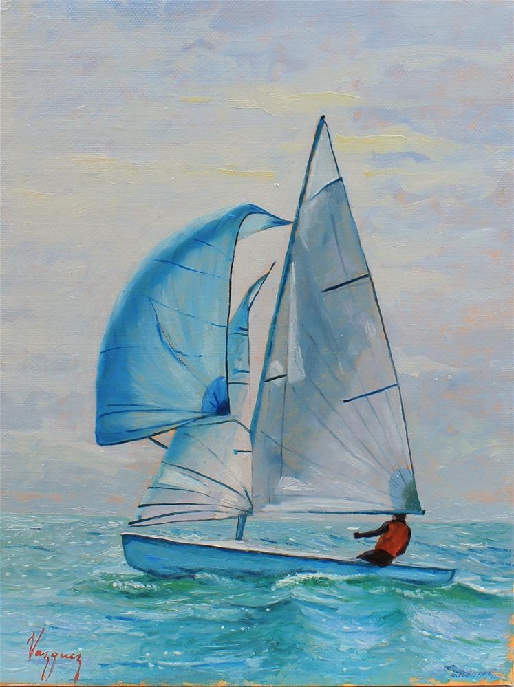 """Blue sail"" original fine art by Marco Vazquez"