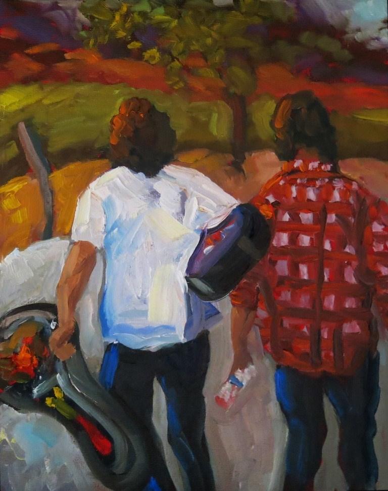 """#146  MADRID GUITARISTS"" original fine art by Dee Sanchez"
