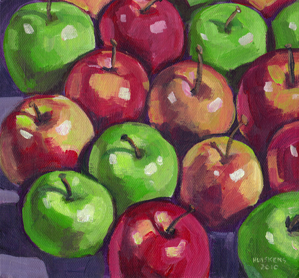 """Green And Red Apples No. 3"" original fine art by Randal Huiskens"