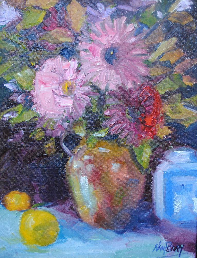 """Zinnias and Co."" original fine art by Nan Perry"