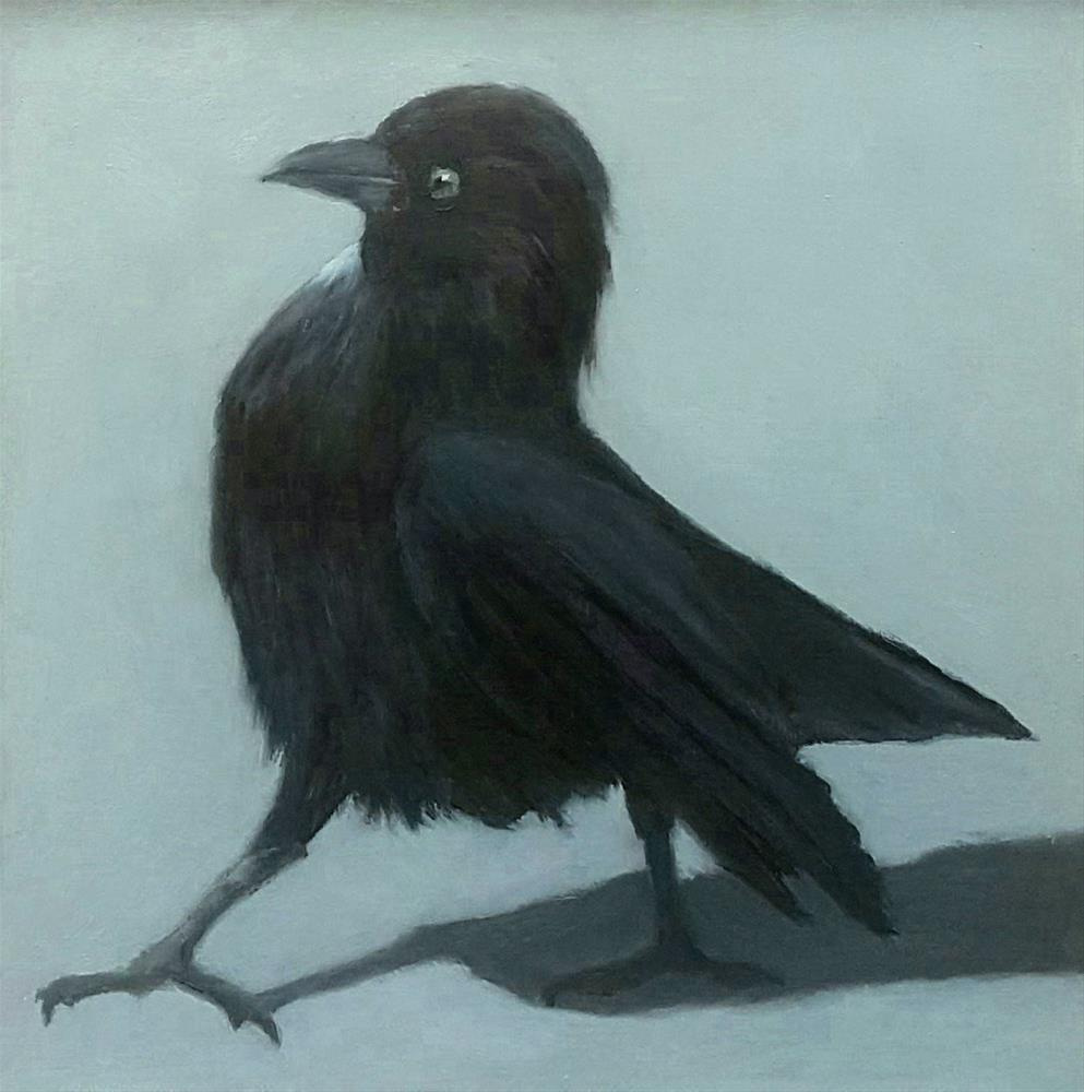 """Crow in the City"" original fine art by Karen Johnston"