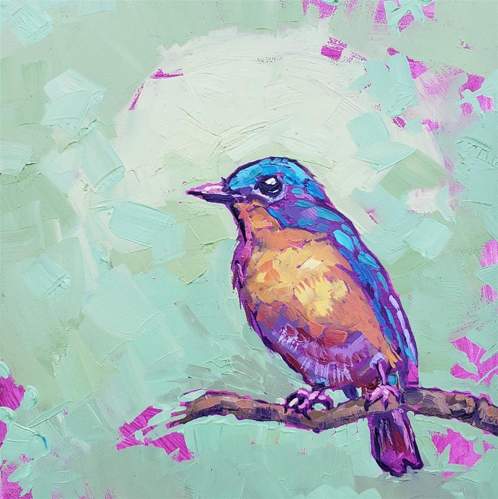 """Blue Bird - Fine Art Oil Portrait"" original fine art by Bhavna Misra"