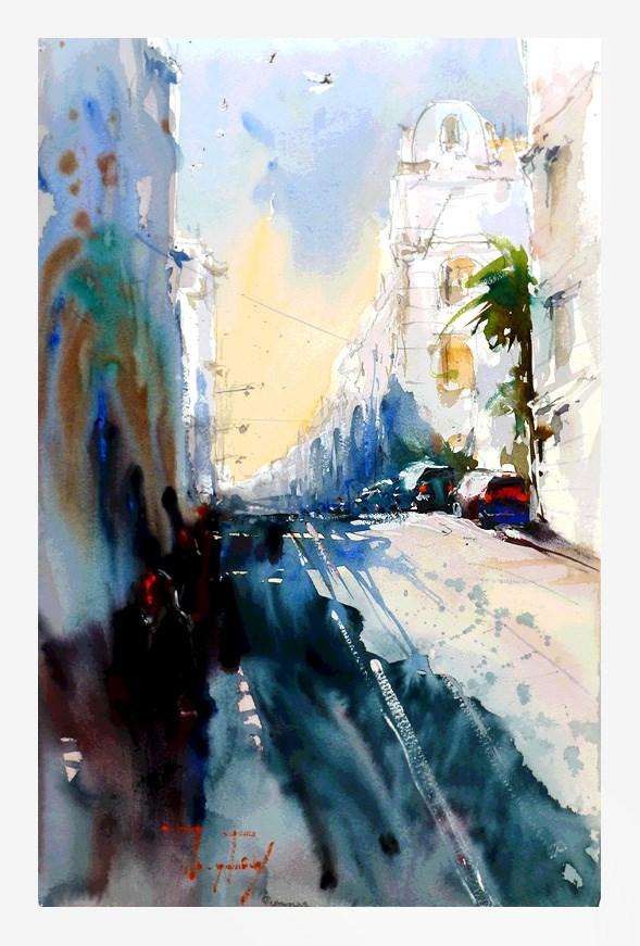 """Streets of Nice"" original fine art by Jurij Frey"