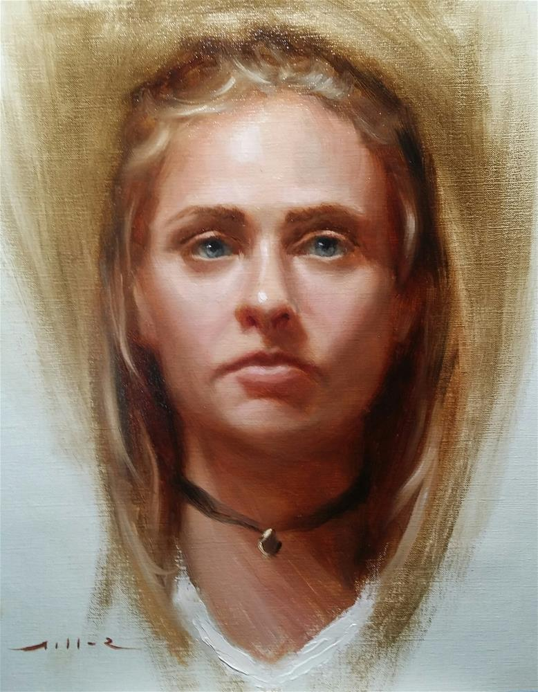 """""""Study of a young woman"""" original fine art by Nathan Miller"""
