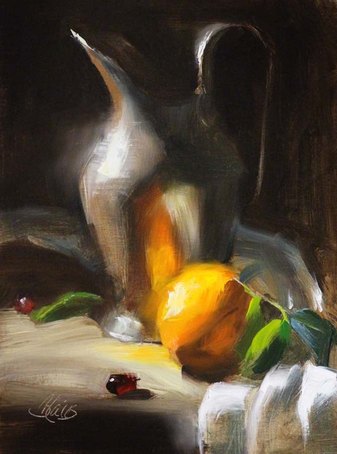 """An Orange and a  Silver Pitcher Study"" original fine art by Pamela Blaies"