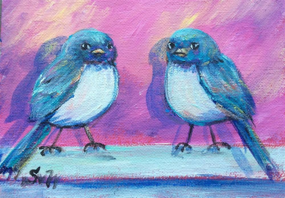 """""""Two birdies"""" original fine art by Sonia von Walter"""