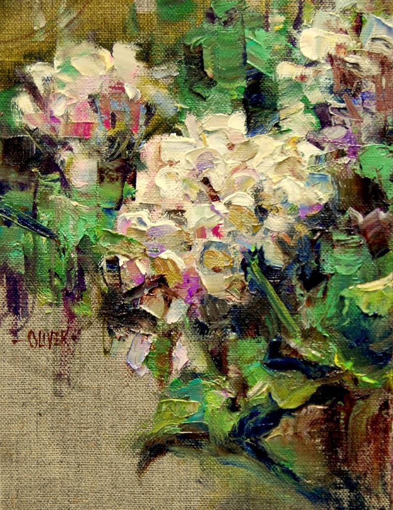 """White Geraniums -  Study"" original fine art by Julie Ford Oliver"