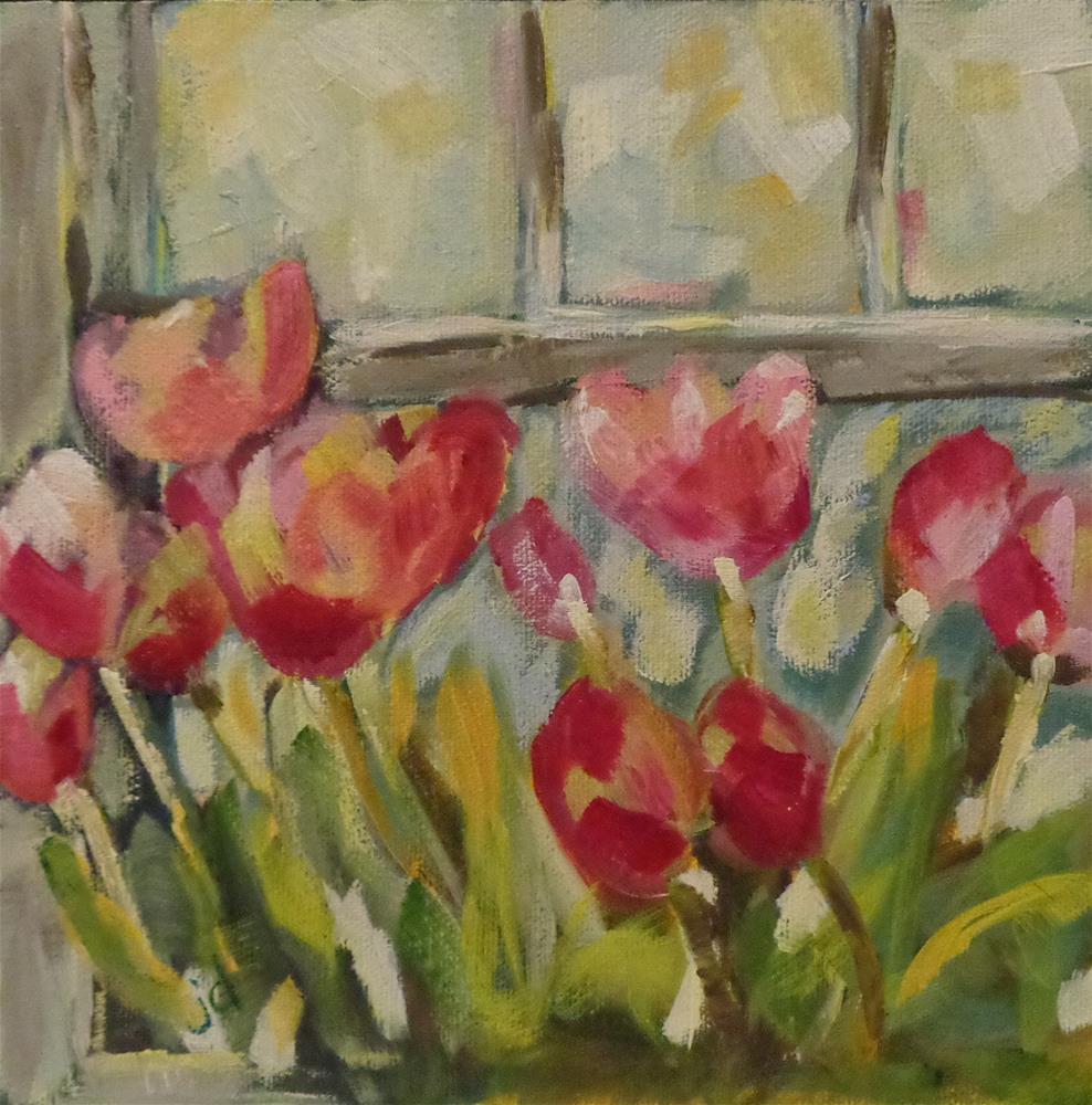 """""""Flowers in the window 2"""" original fine art by Jean Delaney"""