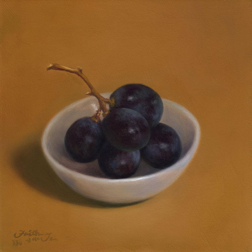 """Grapes in Small Bowl"" original fine art by Faith Te"