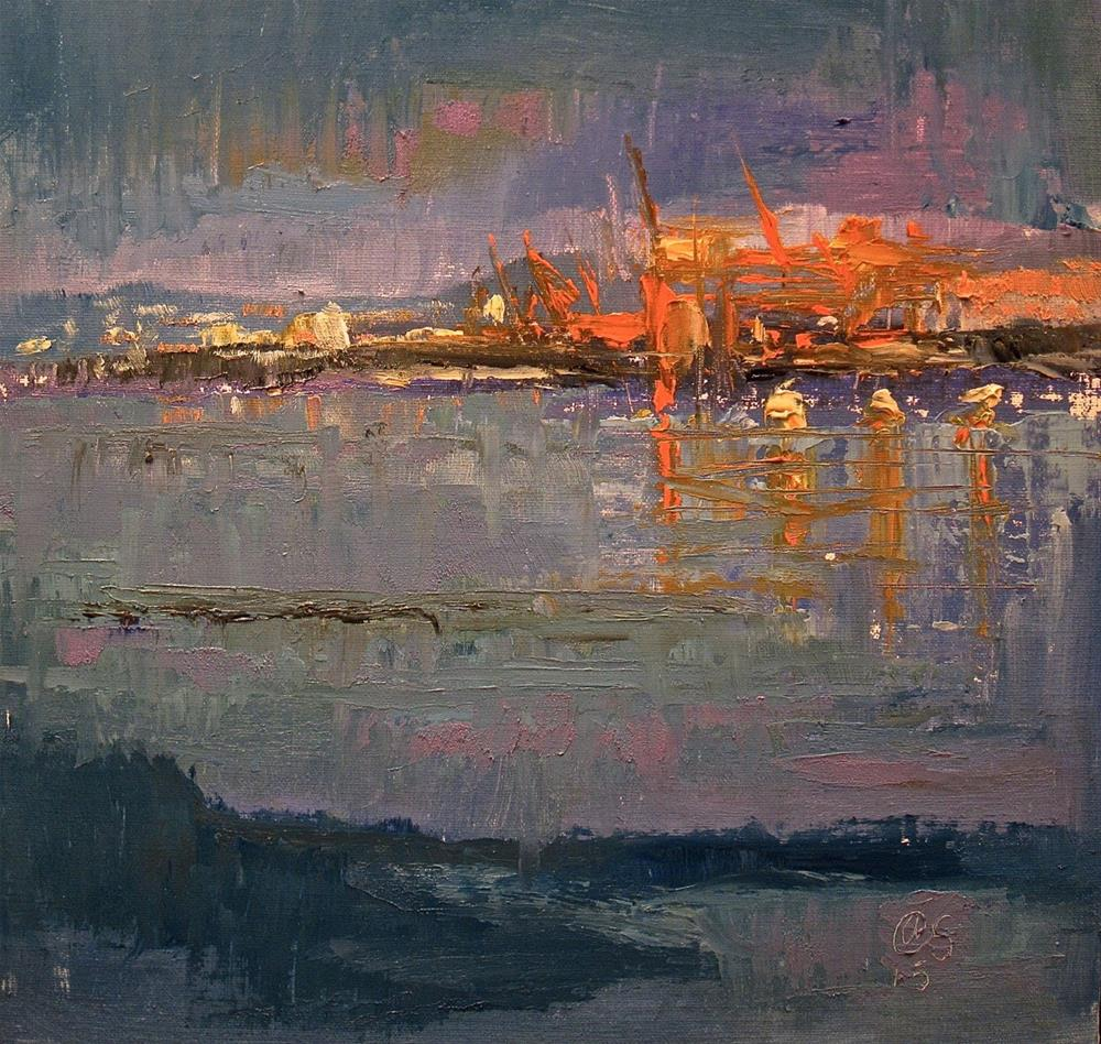 """Nightfall on Coal Harbor"" original fine art by Aurelio Saiz"