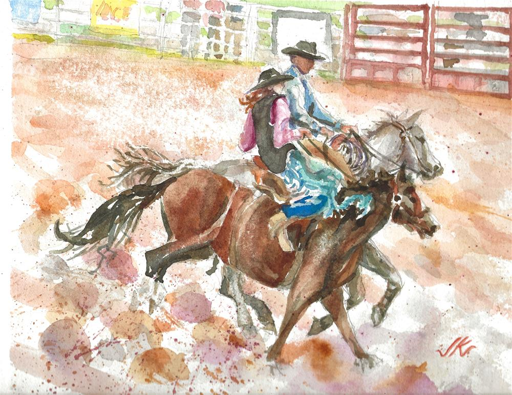 """Stampede Rodeo Stars"" original fine art by Jean Krueger"