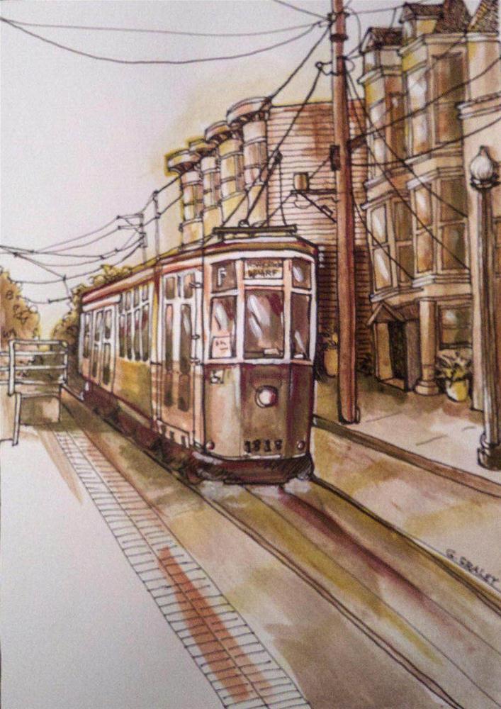 """F Streetcar, Market Street"" original fine art by Geri Graley"
