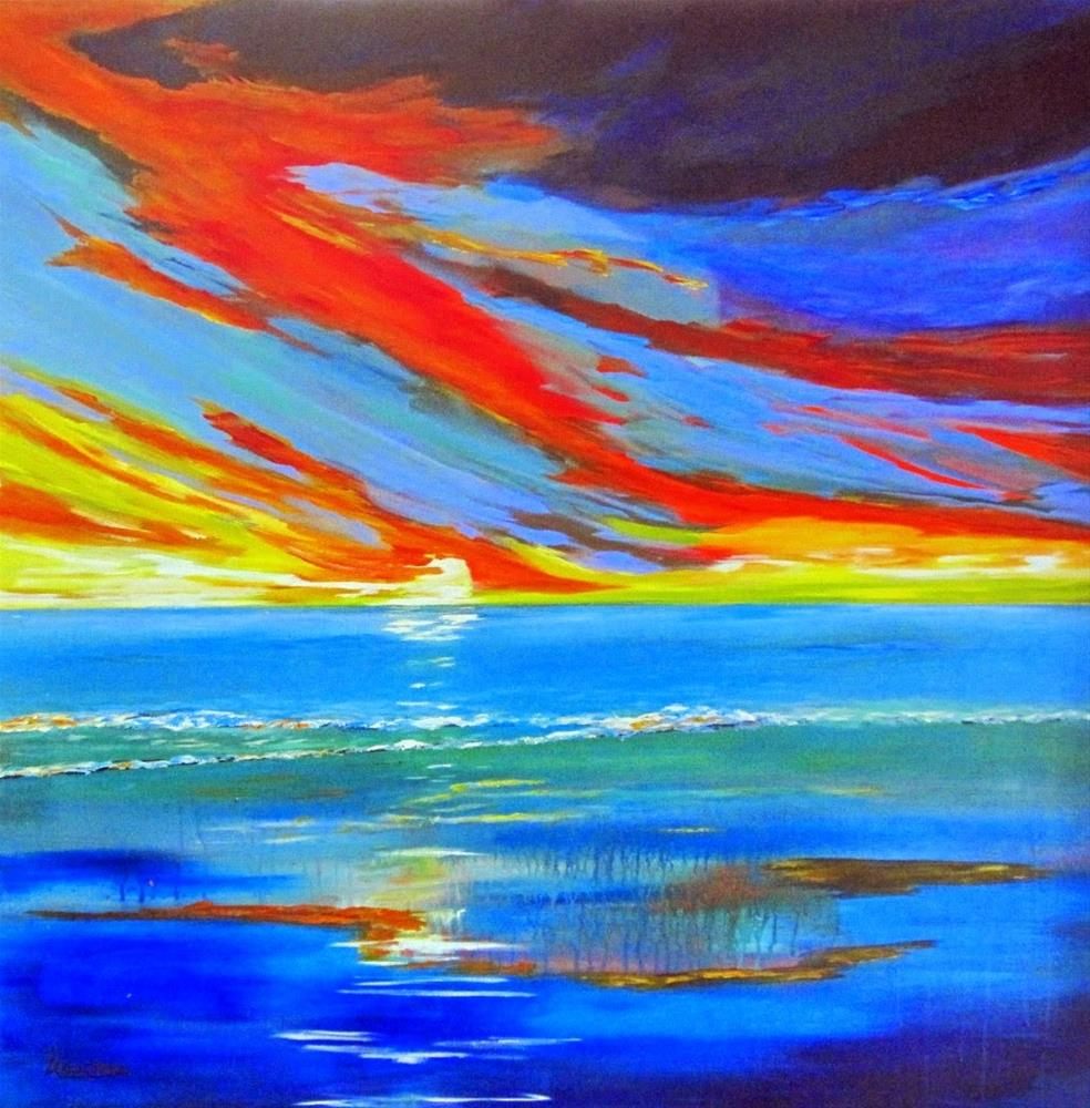 """""""Arrachmes Abstract Seascape Painting Essential Line Of Defense by Contemporary International Arti"""" original fine art by Arrachme Art"""