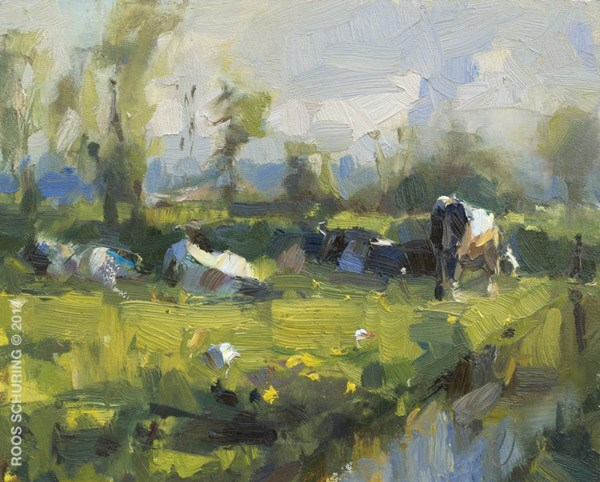 """Romantic Rural Scene with Cows"" original fine art by Roos Schuring"