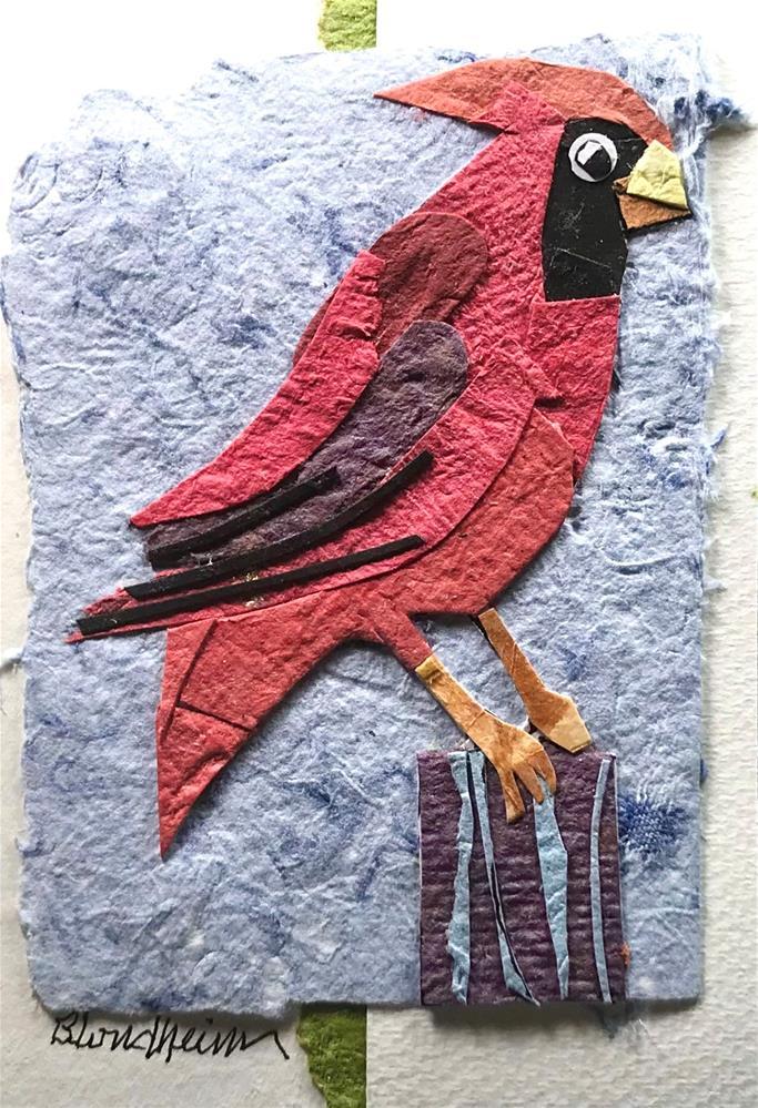 """Cardinal Collage"" original fine art by Linda Blondheim"