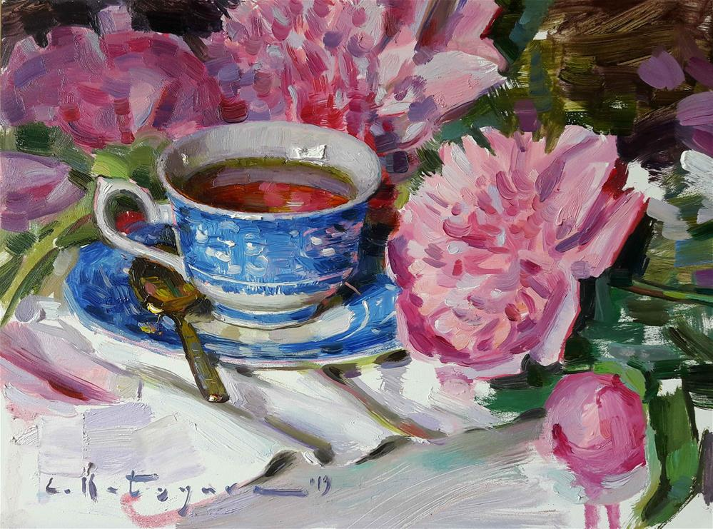 """Peonies and Blue China (edited)"" original fine art by Elena Katsyura"