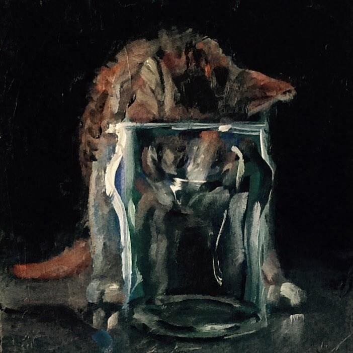 """""""Glass with Kitten"""" original fine art by Rachel K Schlueter"""
