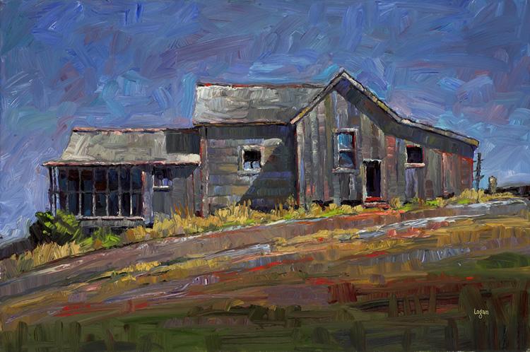 """SLO Gray House (The Larger)"" original fine art by Raymond Logan"