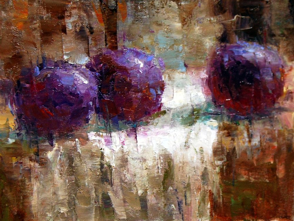 """""""Fracturing the Plums"""" original fine art by Julie Ford Oliver"""