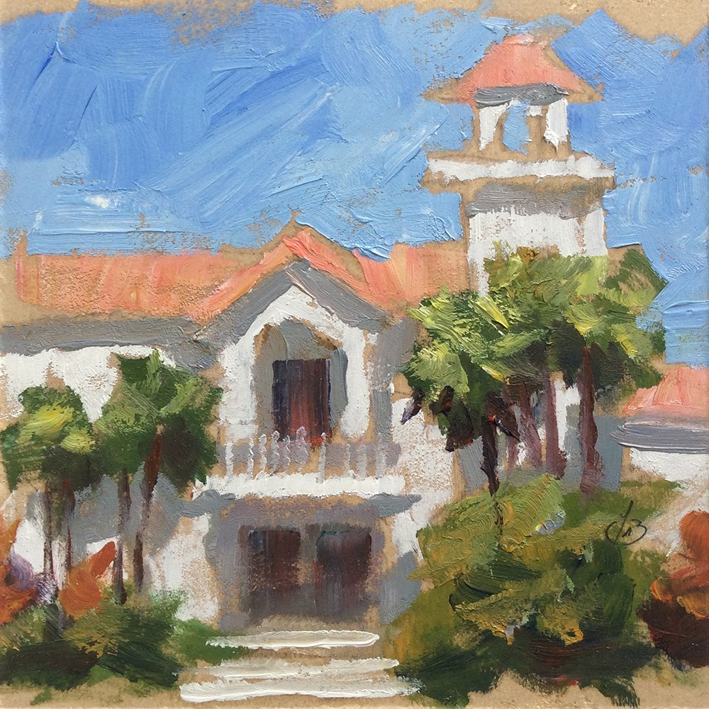 """""""CALIFORNIA ARCHITECTURE WITH PALM TREES"""" original fine art by Tom Brown"""