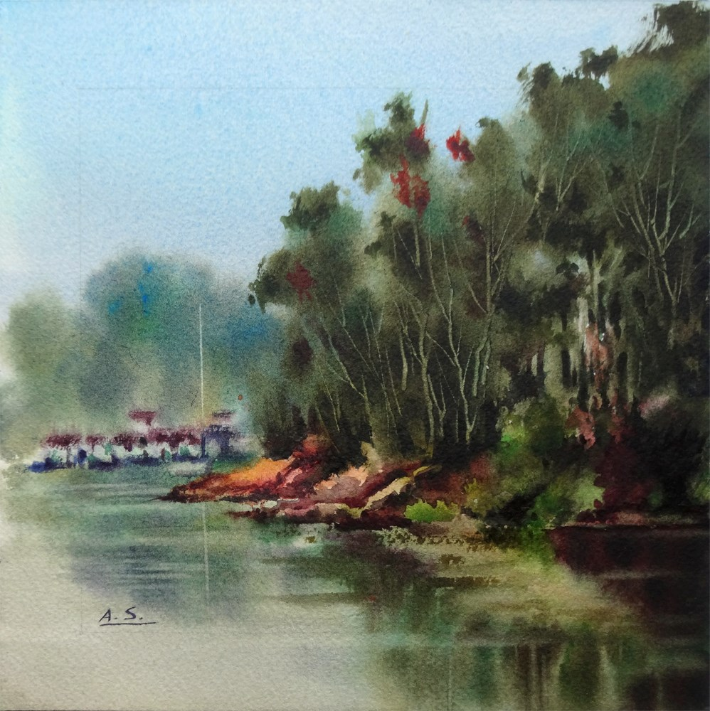 """Eucalyptus Shore"" original fine art by Arena Shawn"