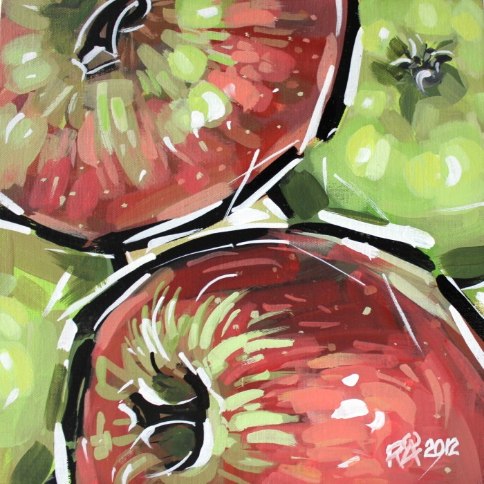 """Four apples version 2"" original fine art by Roger Akesson"